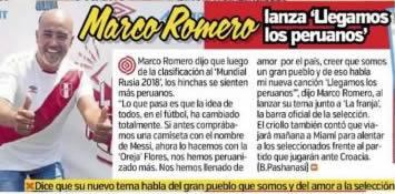 Diario El Trome Marco Romero Lanza Llegamos Los Peruanos Marco